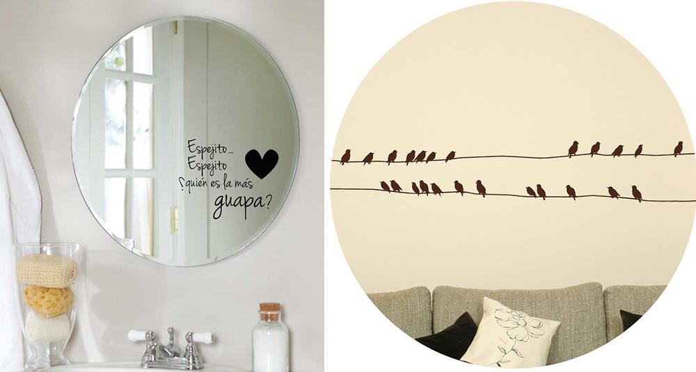 Vinilos para paredes la forma m s divertida de redecorar tus paredes chic hunting - Vinilos para espejos ...